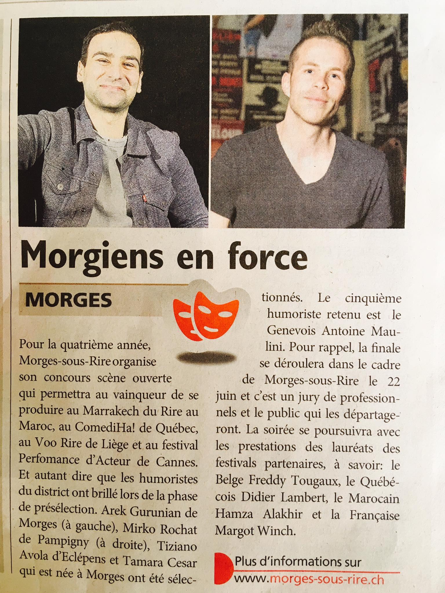 Mirko Rochat - Journal de Morges 12 mai 2017 en rapport avec le Festival Morges Sous Rire, Concours scène Ouverte