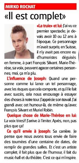 Mirko Rochat donne son avis dans l'Express au sujet de Marie-Thérèse Porchet, alias Joseph Gorgoni