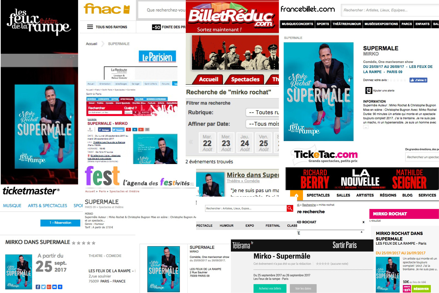Billetterie Paris Supermâle - Feux de la Rampe, Fnac, Billet Réduc, France Billet, Le Parisien, Ticketac, Fest, Ticketmaster, Télérama