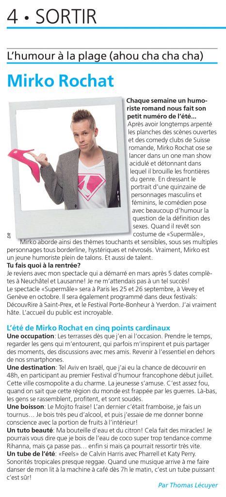 Article paru le 17 août dans le magazine Lausanne Cité