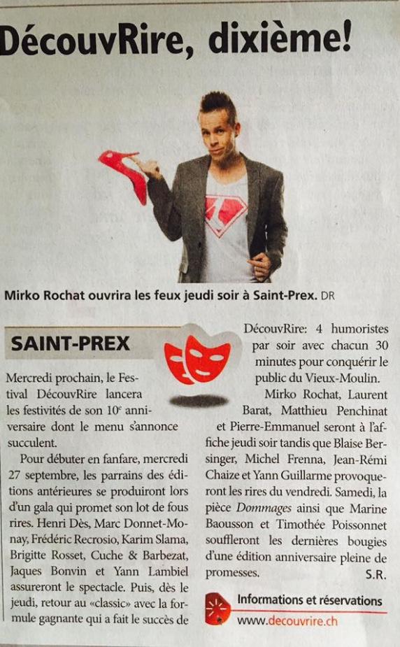 Festival DécouvRire - Mirko Rochat - Journal de Morges