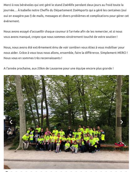 Mirko Rochat - Zoé4Life - 20km de Lausanne - Association
