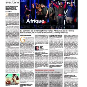 24h, Montreux Comedy, RTS, SwissInfo, Le Temps, Dycoco, Abidjan, humoristes francophones